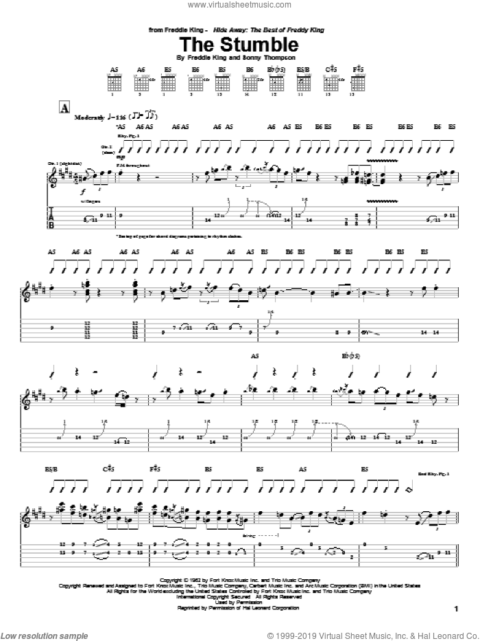 The Stumble sheet music for guitar (tablature) by Sonny Thompson and Freddie King. Score Image Preview.