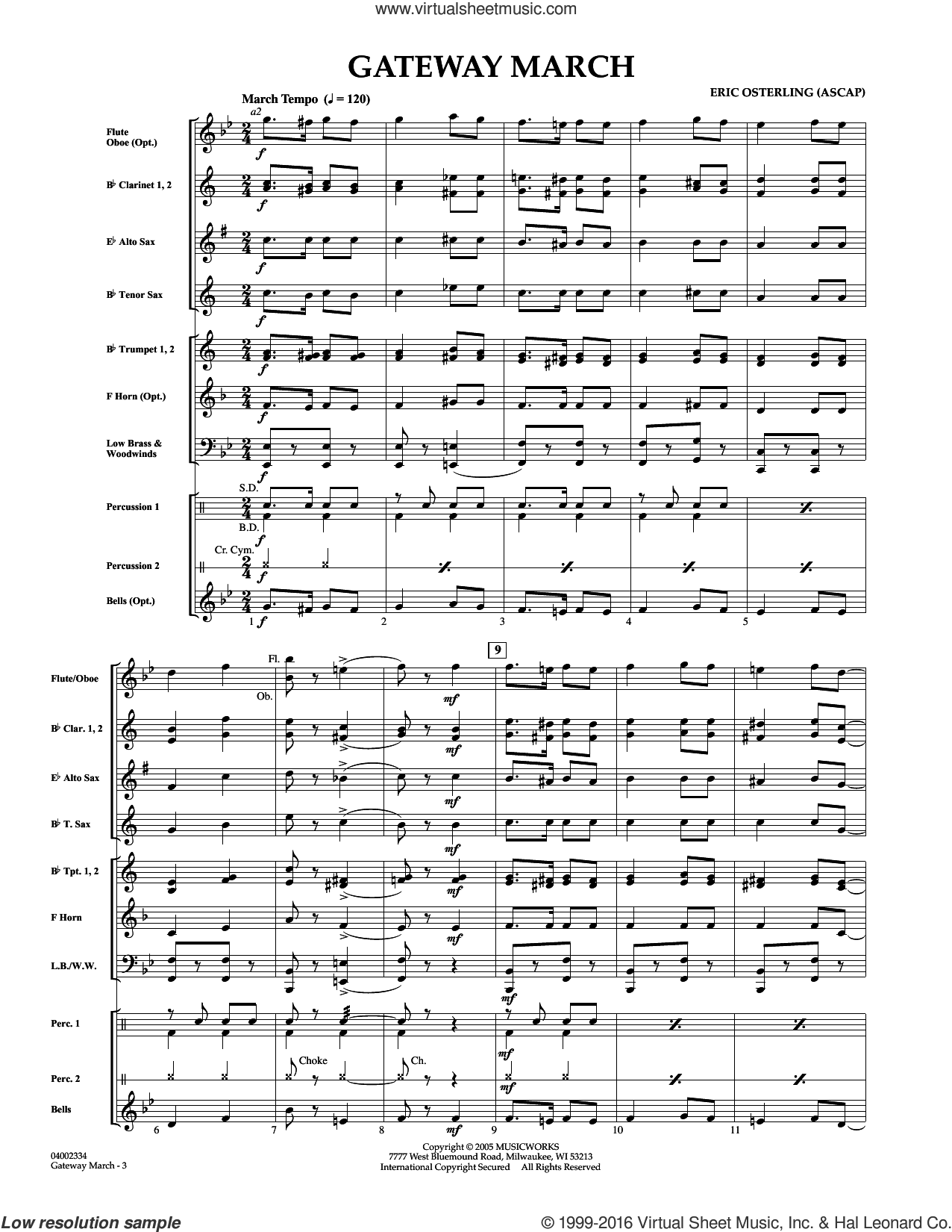 Gateway March sheet music for concert band (full score) by Eric Osterling. Score Image Preview.
