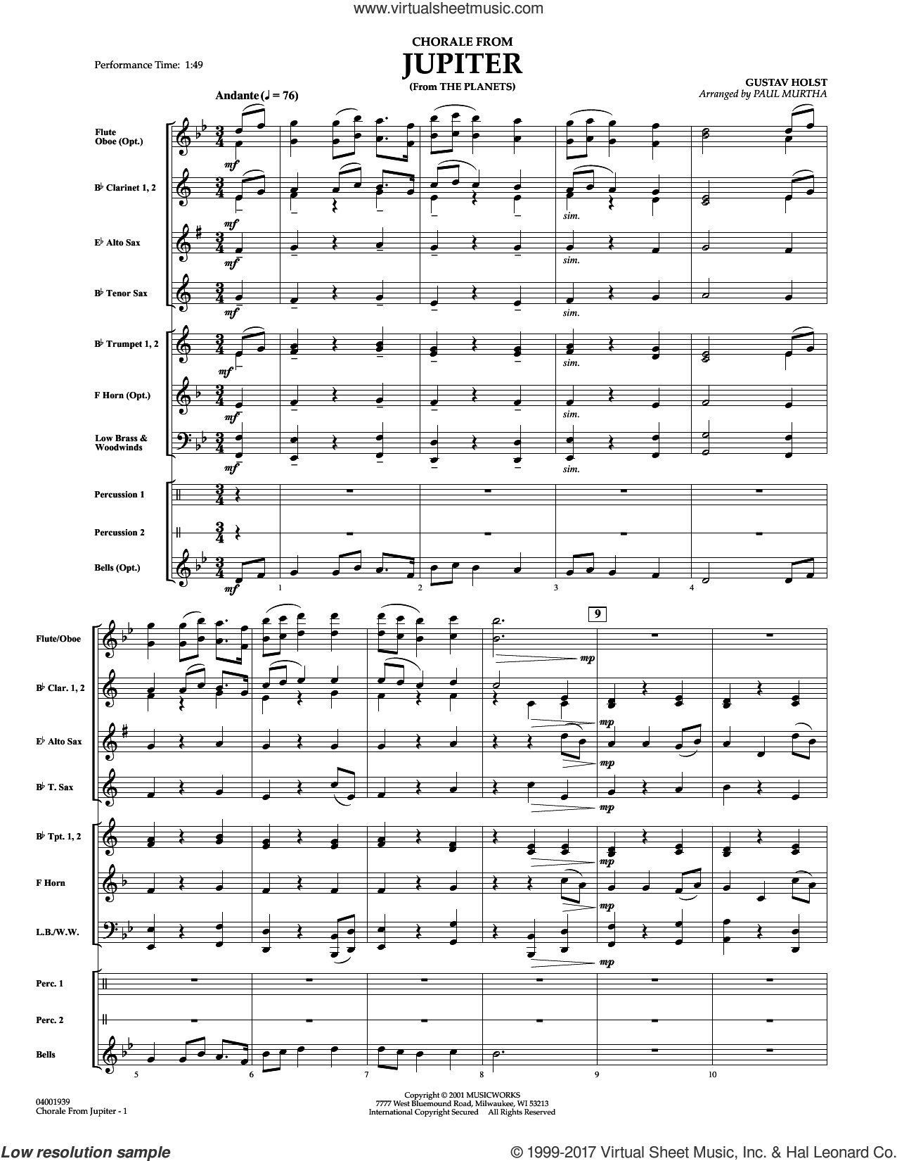 Chorale from Jupiter (COMPLETE) sheet music for concert band by Paul Murtha and Gustav Holst, classical score, intermediate skill level