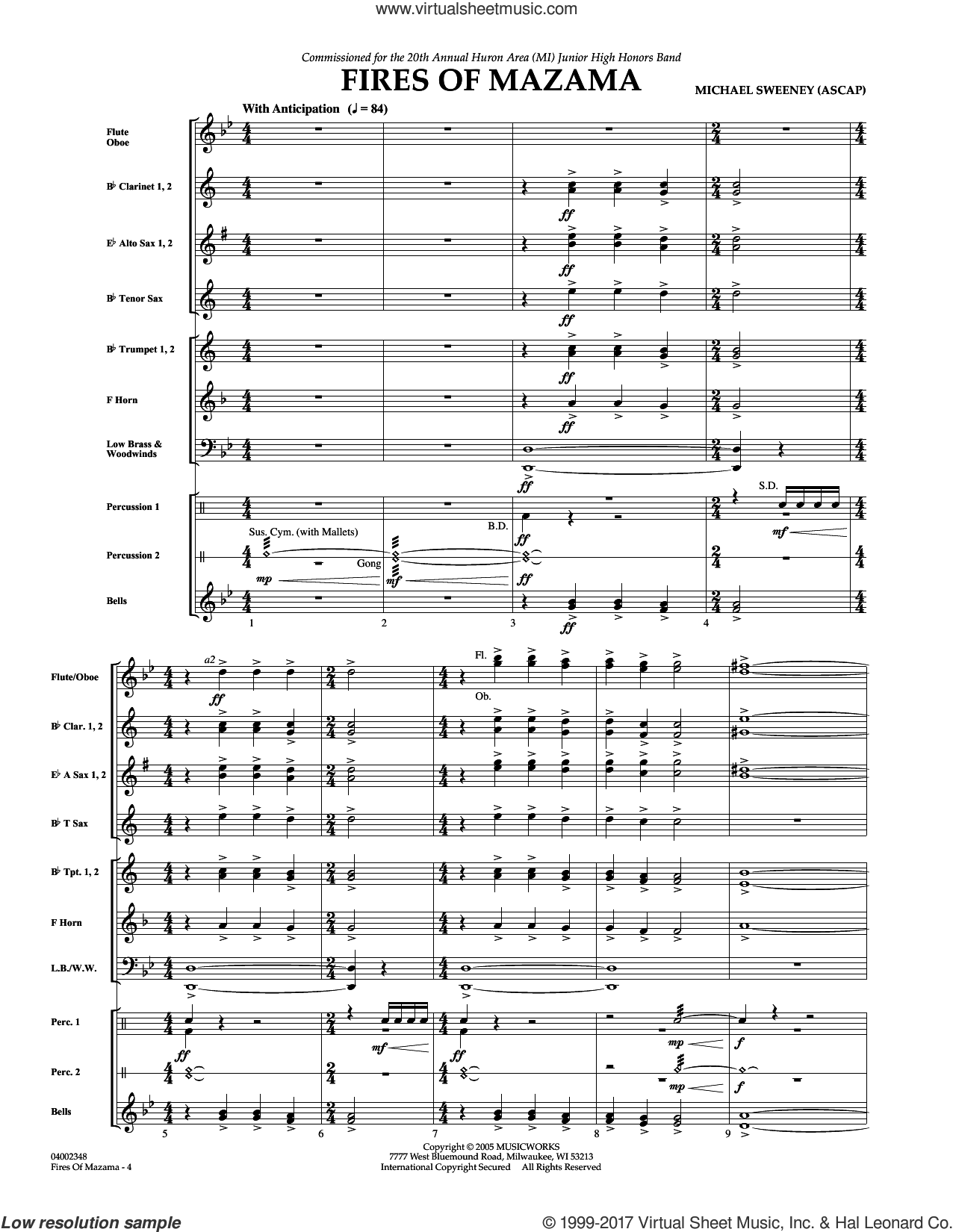 Fires of Mazama (COMPLETE) sheet music for concert band by Michael Sweeney, intermediate skill level