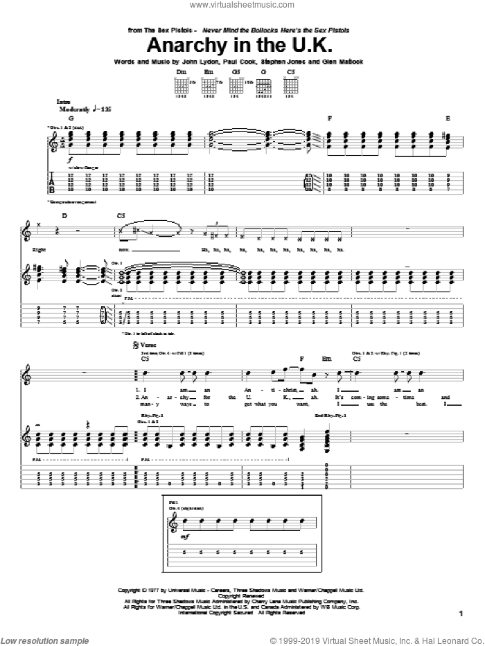 Anarchy In The U.K. sheet music for guitar (tablature) by Sex Pistols, Megadeth, Motley Crue, Glen Matlock, John Lydon, Paul Thomas Cook and Steve Jones, intermediate