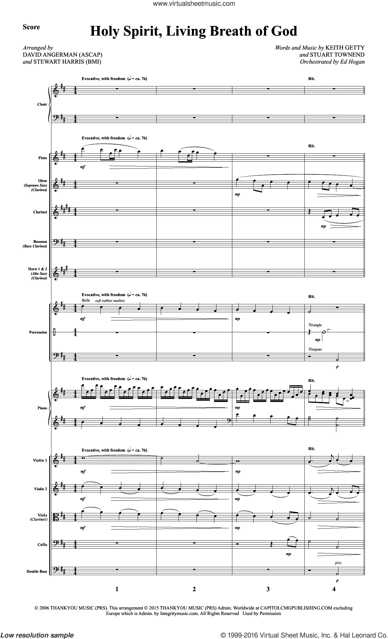 Holy Spirit, Living Breath of God sheet music for orchestra/band (full score) by Stuart Townend, David Angerman, Keith & Kristyn Getty, Stewart Harris and Keith Getty. Score Image Preview.