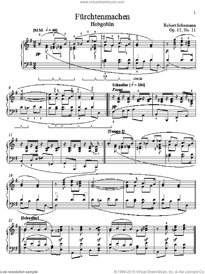 Frightening, Op. 15, No. 11 sheet music for piano solo by Robert Schumann, classical score, intermediate skill level