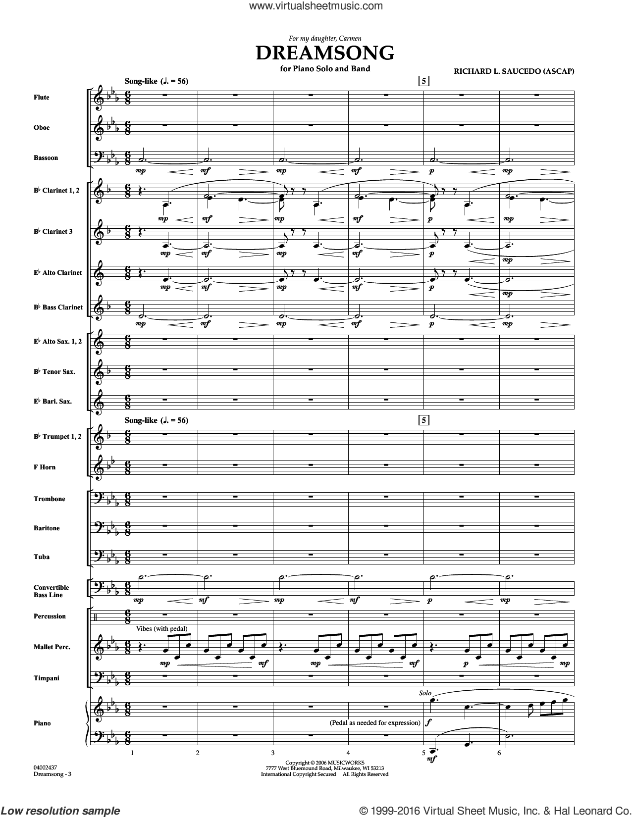 Dreamsong (Piano Feature With Band) (COMPLETE) sheet music for concert band by Richard L. Saucedo, intermediate. Score Image Preview.