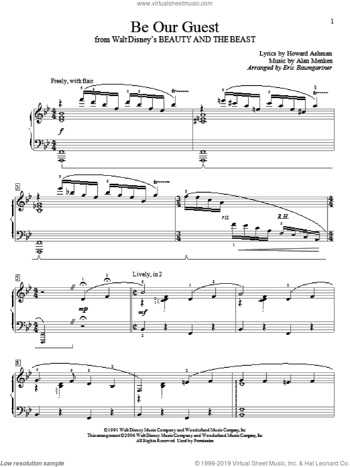 Be Our Guest sheet music for piano solo (elementary) by Alan Menken, Eric Baumgartner and Howard Ashman, beginner piano (elementary). Score Image Preview.