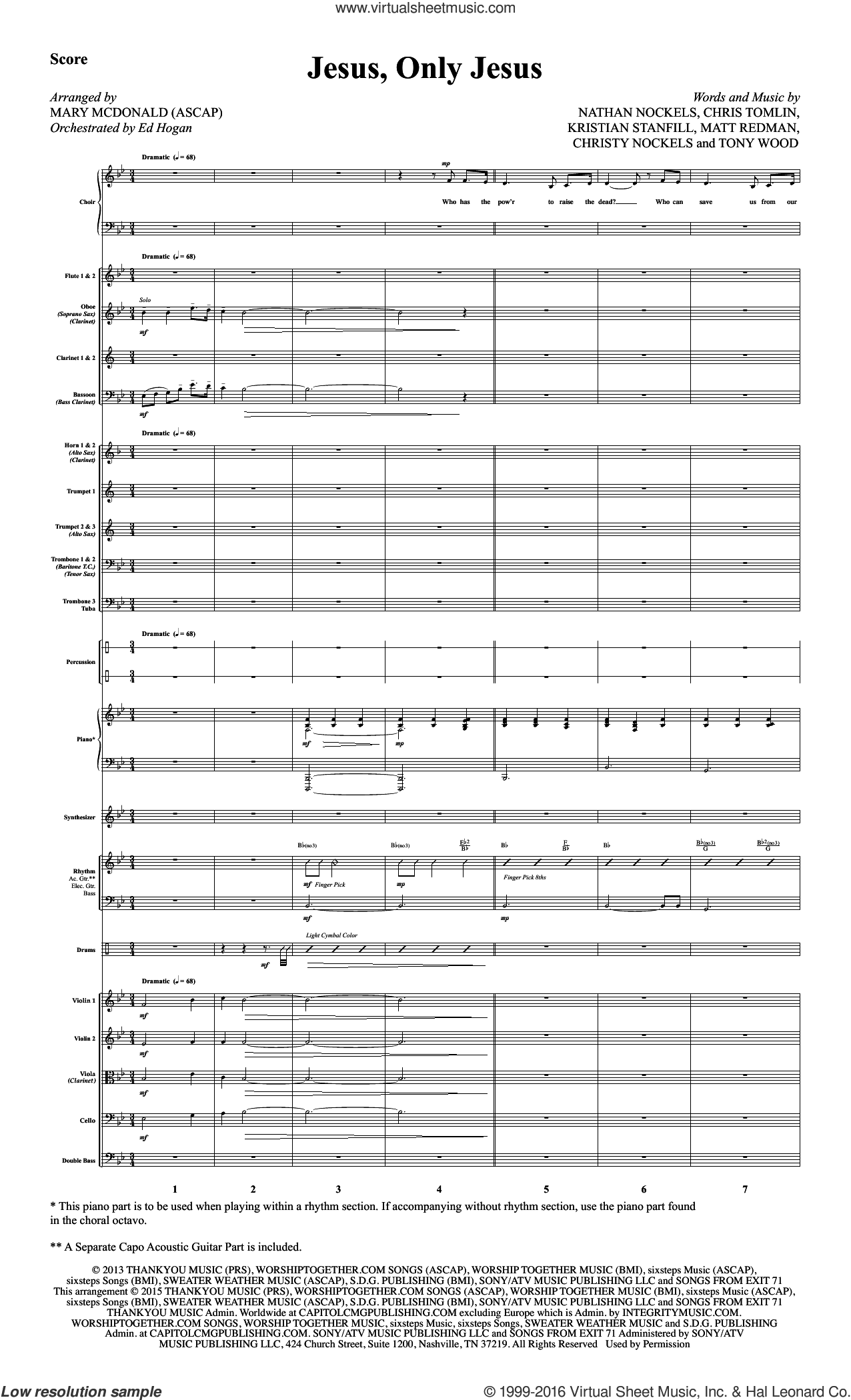Jesus, Only Jesus (COMPLETE) sheet music for orchestra by Chris Tomlin, Mary McDonald, Passion, Tony Wood, Christy Nockels, Kristian Stanfill and Matt Redman, intermediate orchestra. Score Image Preview.