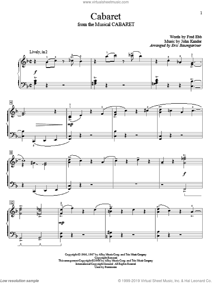 Cabaret sheet music for piano solo (elementary) by John Kander, Eric Baumgartner, Kander & Ebb and Fred Ebb. Score Image Preview.