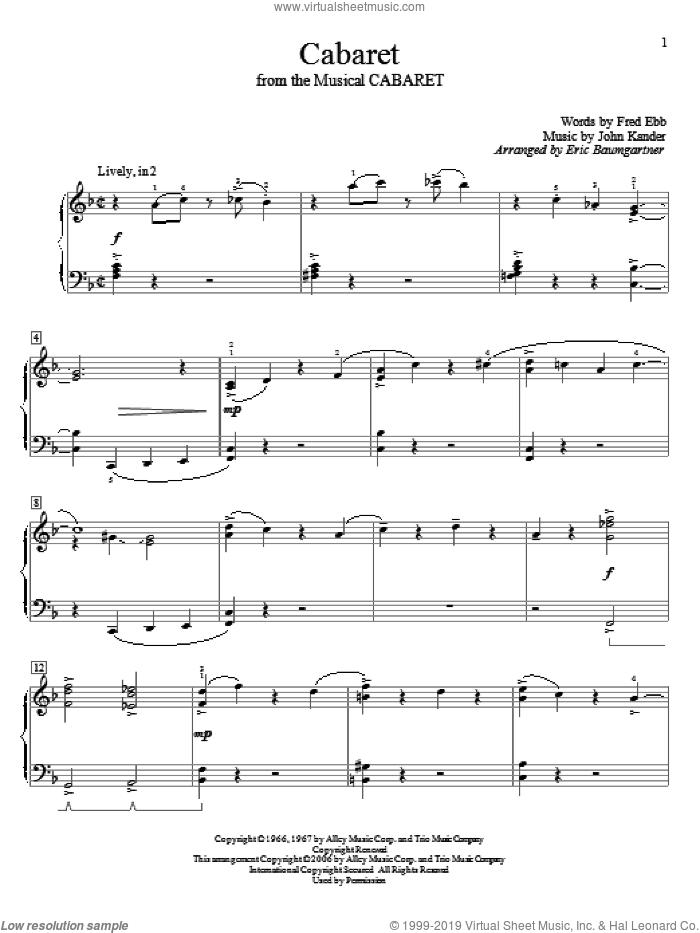Cabaret sheet music for piano solo (elementary) by John Kander, Cabaret (Musical), Eric Baumgartner, Kander & Ebb and Fred Ebb, beginner piano (elementary)