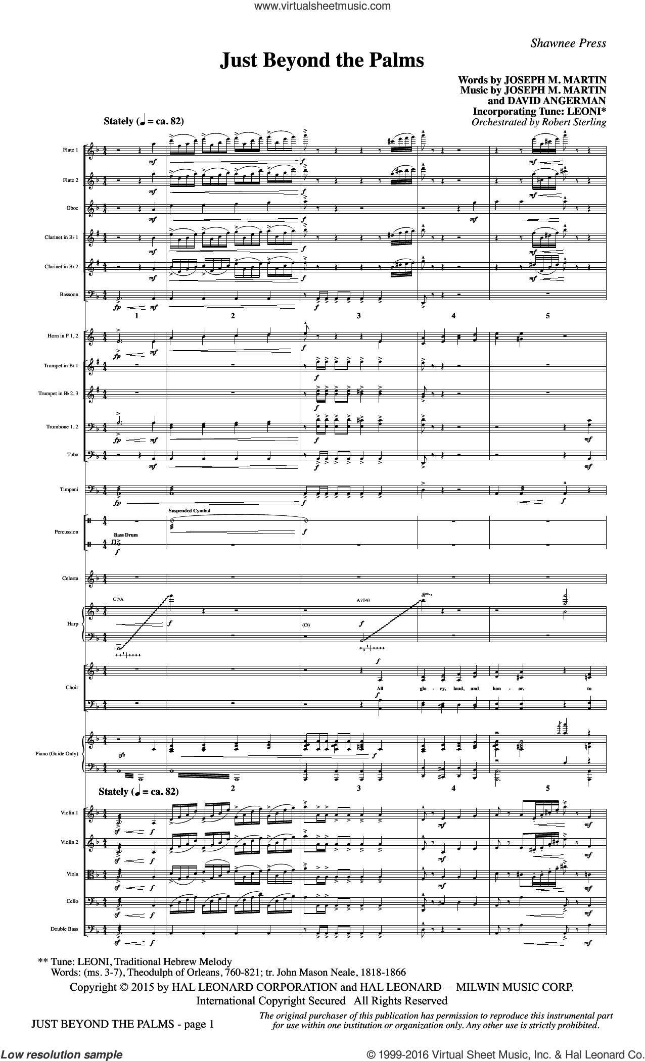 Just Beyond the Palms (COMPLETE) sheet music for orchestra by David Angerman and Joseph M. Martin. Score Image Preview.