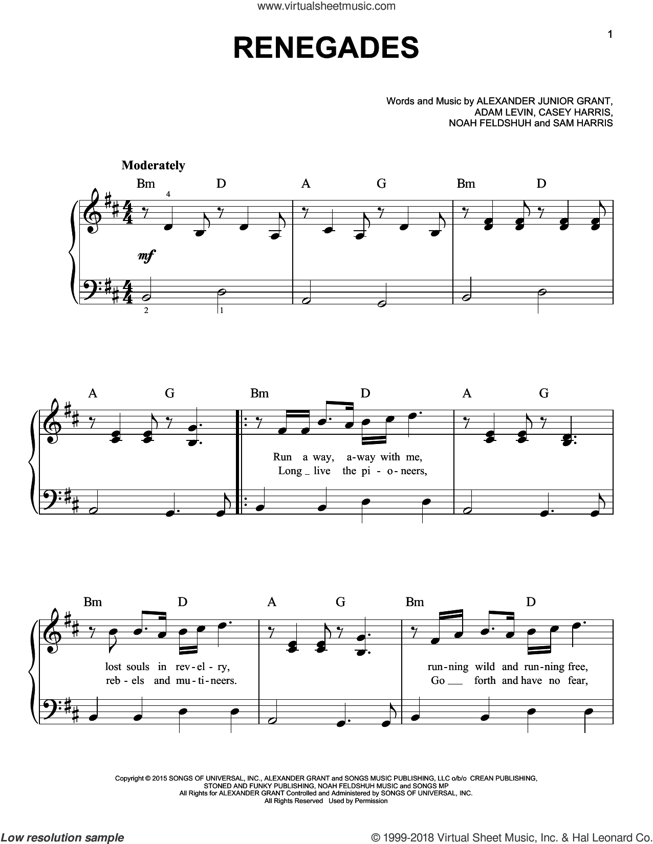 Renegades sheet music for piano solo by Samuel Harris. Score Image Preview.