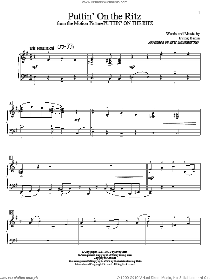 Puttin' On The Ritz sheet music for piano solo (elementary) by Irving Berlin and Eric Baumgartner, beginner piano (elementary)