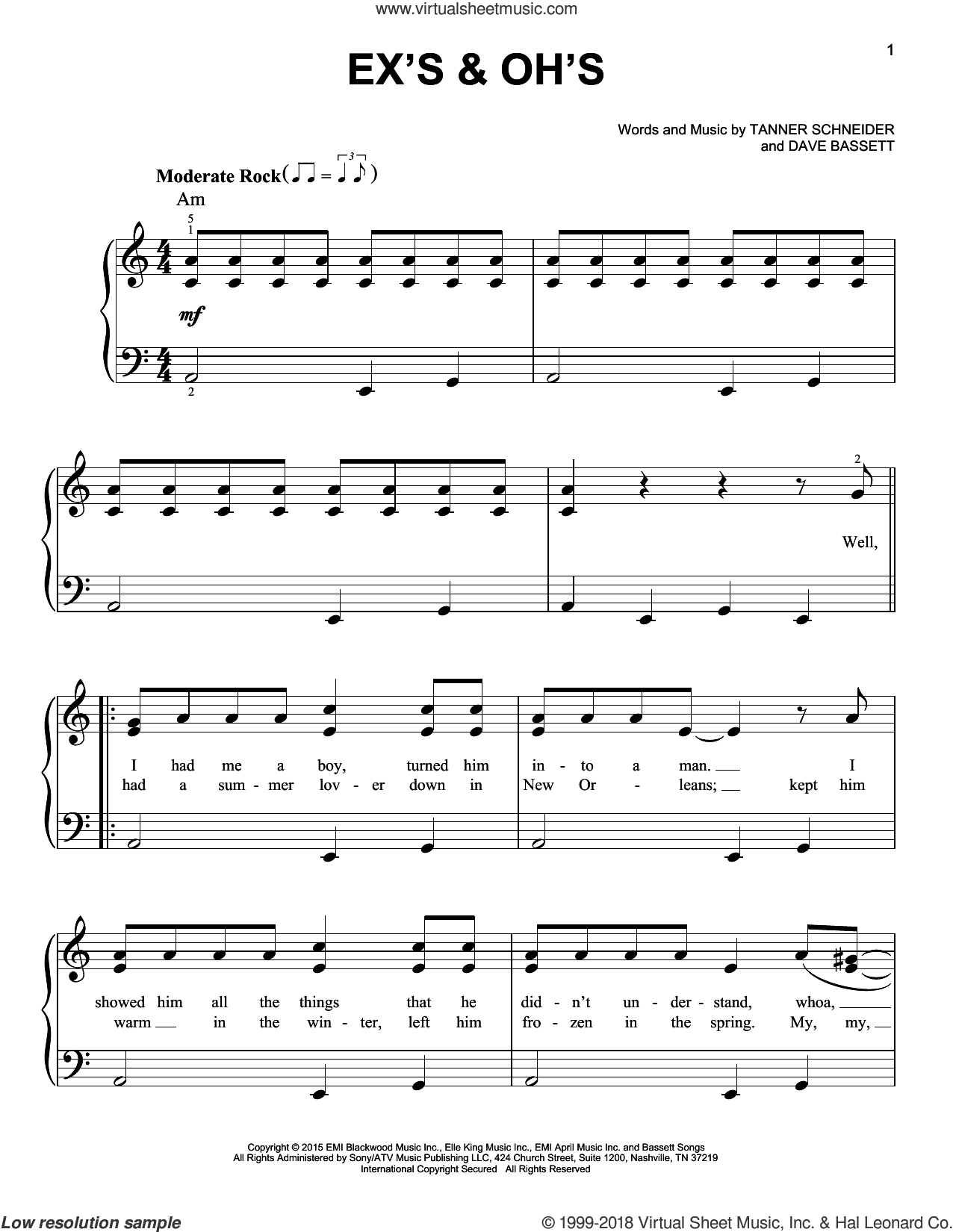 Ex's and Oh's sheet music for piano solo by Elle King, Dave Bassett and Tanner Schneider, easy skill level