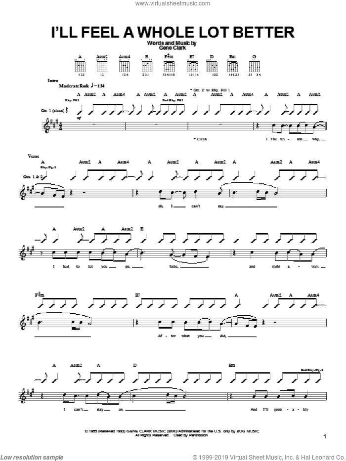I'll Feel A Whole Lot Better sheet music for guitar (tablature) by Gene Clark and The Byrds. Score Image Preview.