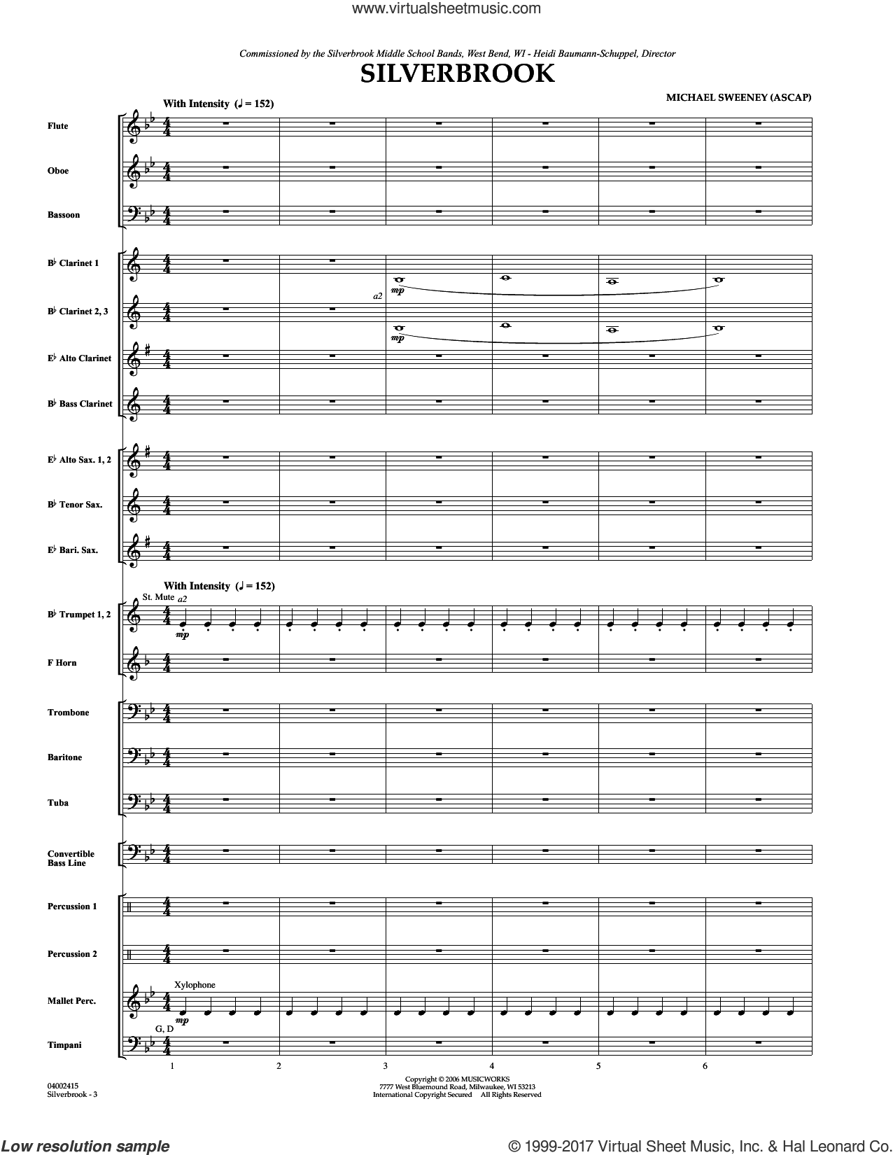 Silverbrook (COMPLETE) sheet music for concert band by Michael Sweeney, intermediate skill level