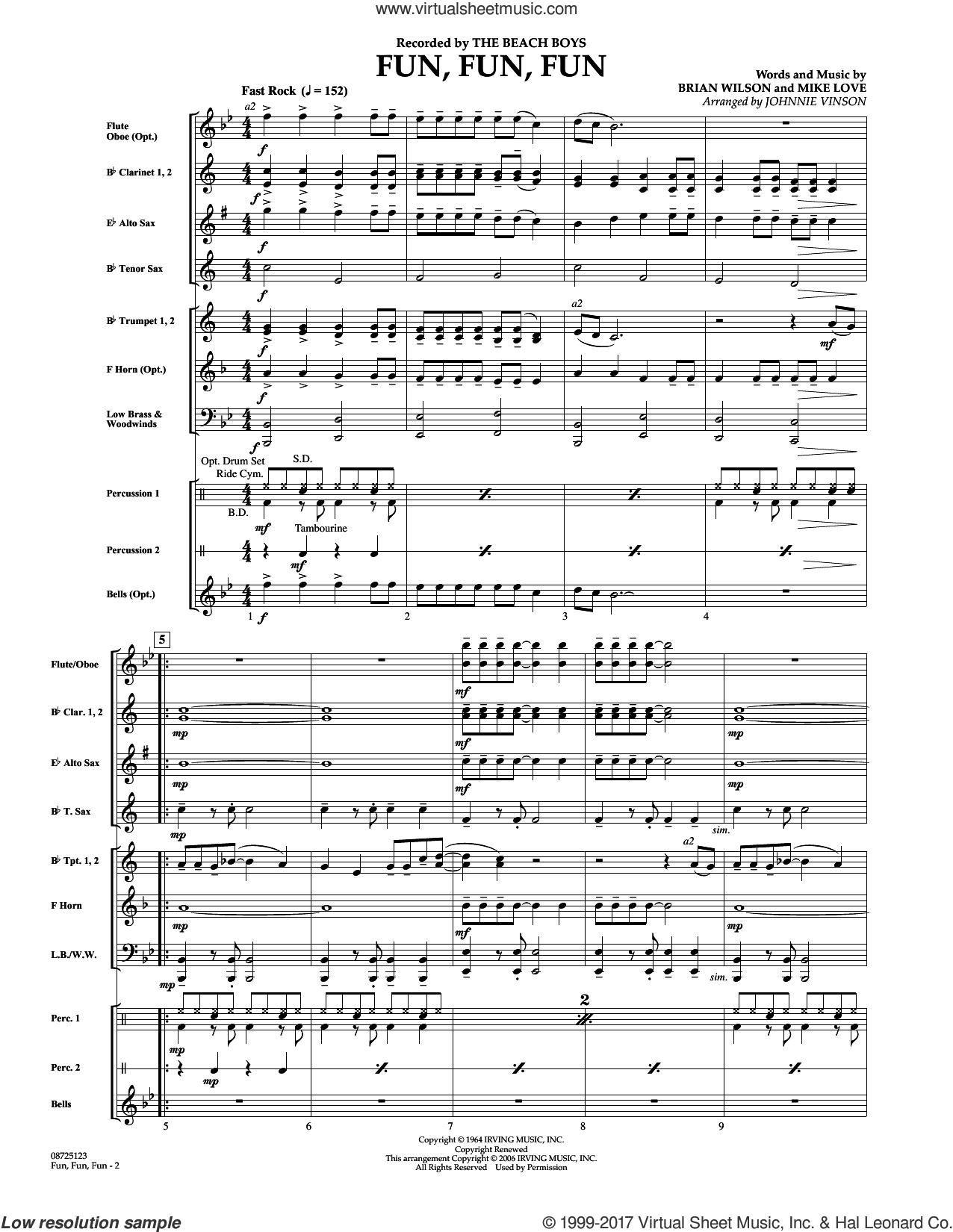 Fun, Fun, Fun (COMPLETE) sheet music for concert band by The Beach Boys, Brian Wilson, Johnnie Vinson and Mike Love, intermediate skill level