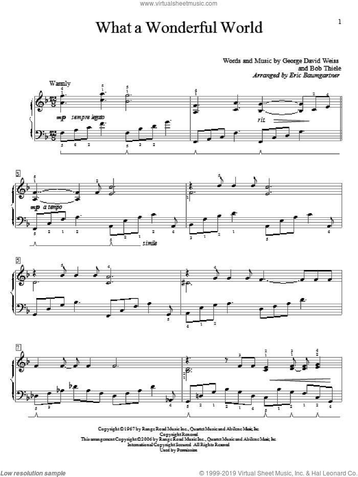 What A Wonderful World sheet music for piano solo (elementary) by George David Weiss, Eric Baumgartner, Louis Armstrong and Bob Thiele, beginner piano (elementary)