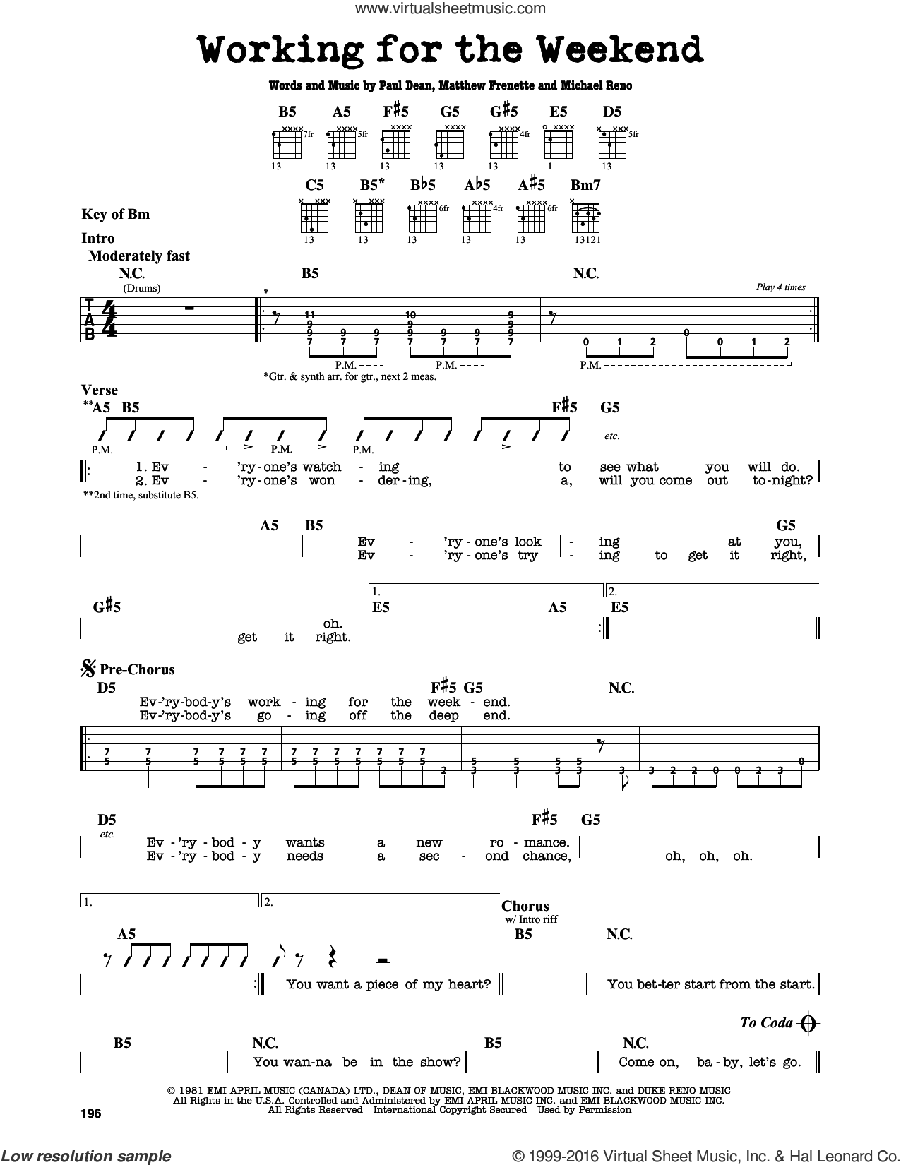 Working For The Weekend sheet music for guitar solo (lead sheet) by Paul Dean. Score Image Preview.