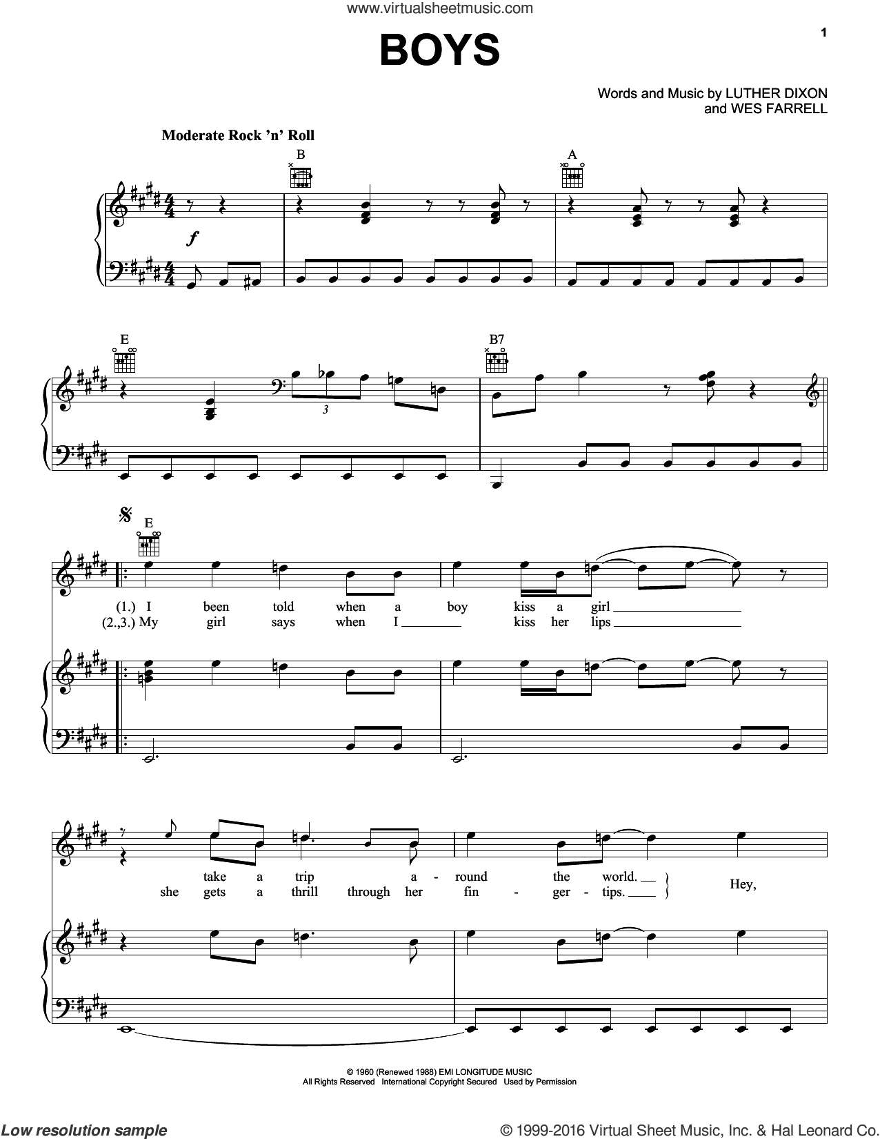 Boys sheet music for voice, piano or guitar by The Beatles, The Shirelles, Luther Dixon and Wes Farrell, intermediate skill level