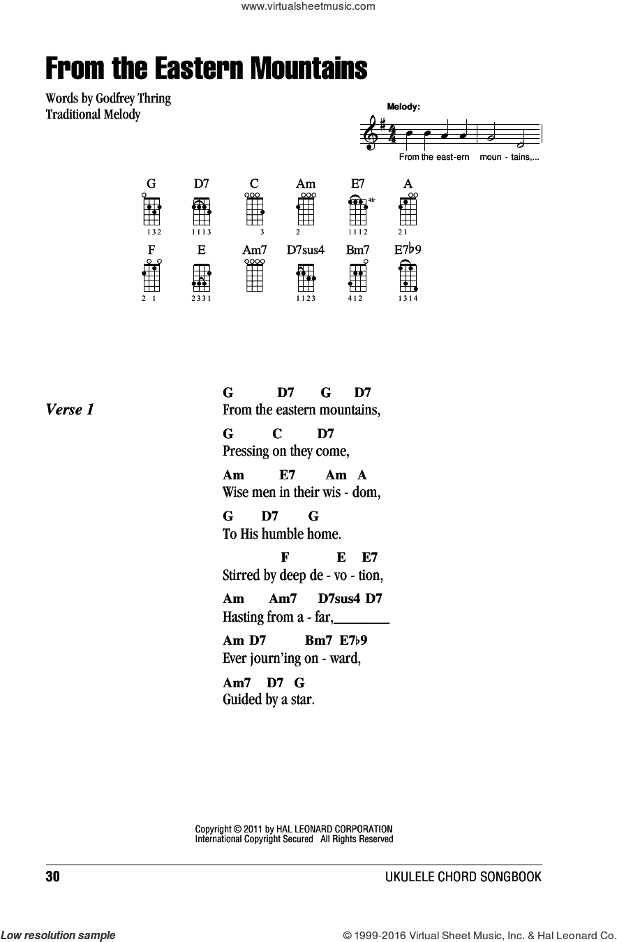 From The Eastern Mountains sheet music for ukulele (chords) by Godfrey Thring and Miscellaneous, intermediate skill level