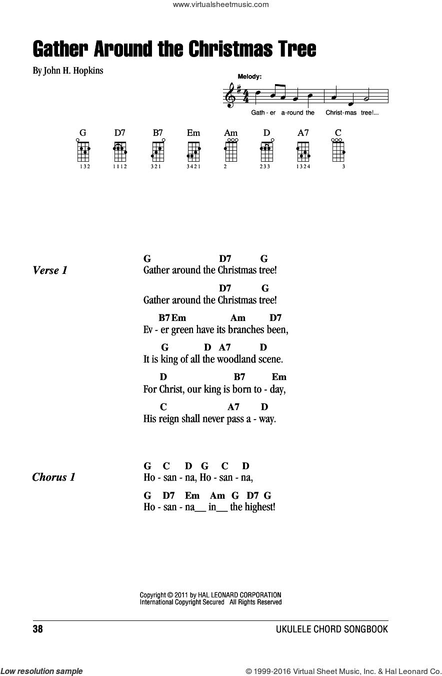 Gather Around The Christmas Tree sheet music for ukulele (chords) by John H. Hopkins, intermediate skill level