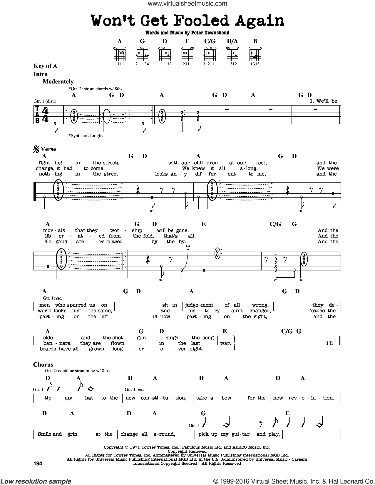 Won't Get Fooled Again sheet music for guitar solo (lead sheet) by The Who and Pete Townshend, intermediate guitar (lead sheet)