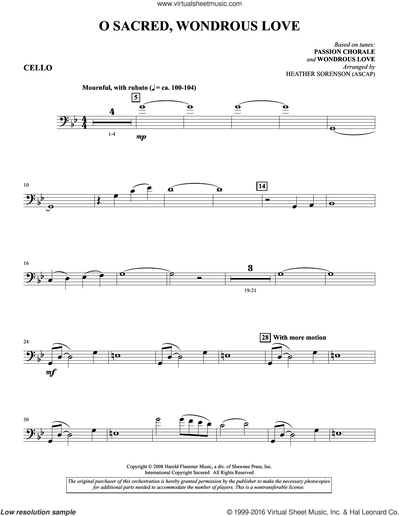O Sacred, Wondrous Love sheet music for orchestra/band (Cello) by Heather Sorenson. Score Image Preview.