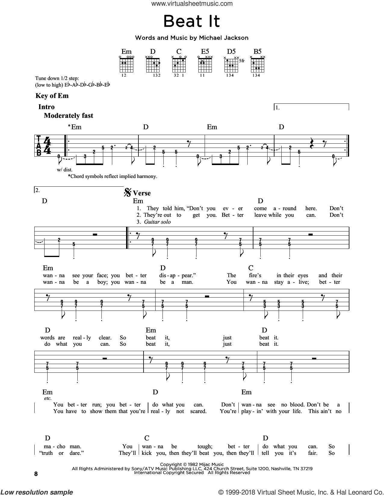 Beat It sheet music for guitar solo (lead sheet) by Michael Jackson, intermediate guitar (lead sheet)