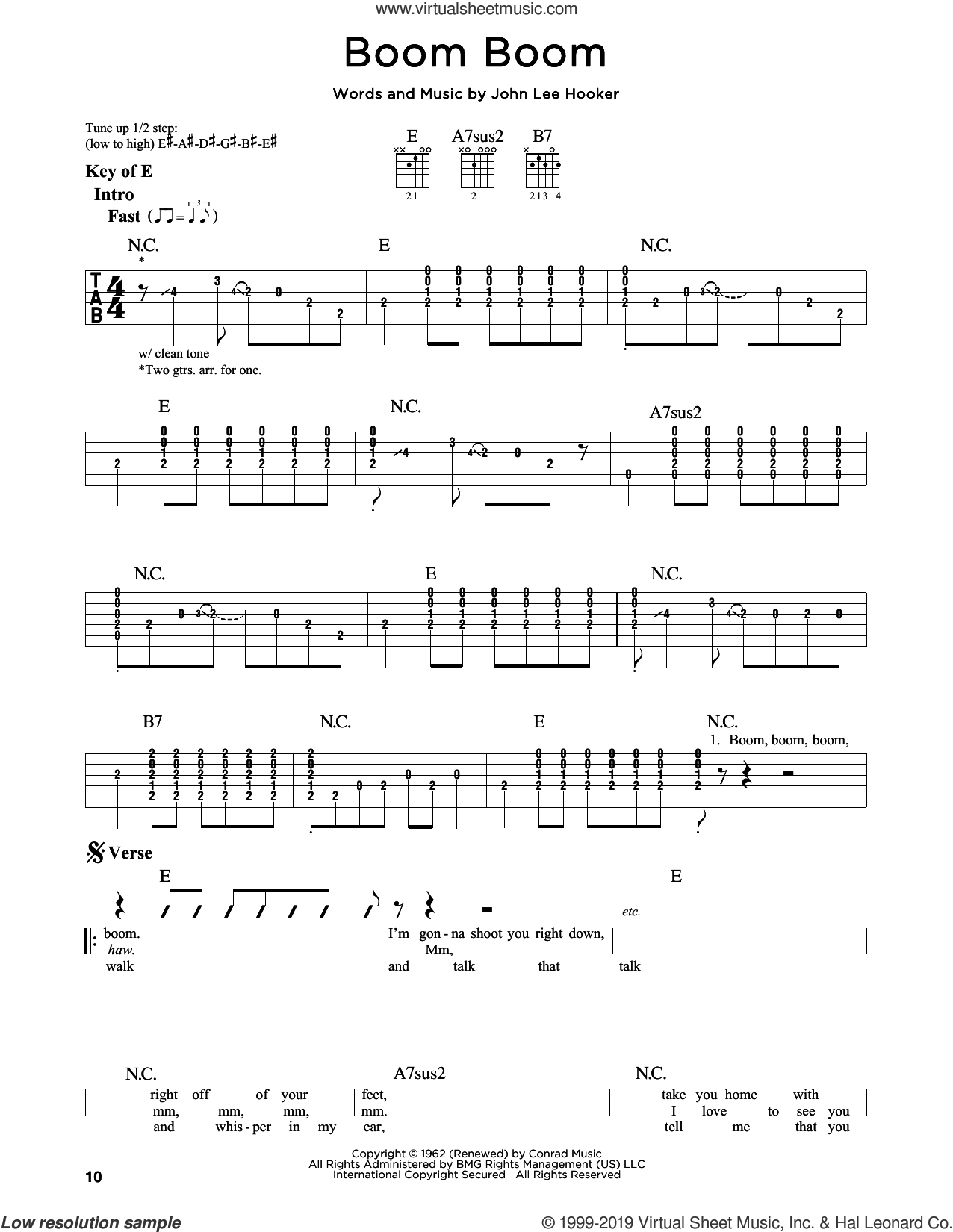 Boom Boom sheet music for guitar solo (lead sheet) by John Lee Hooker, Big Head Todd & The Monsters, Eric Clapton and The Animals, intermediate guitar (lead sheet)