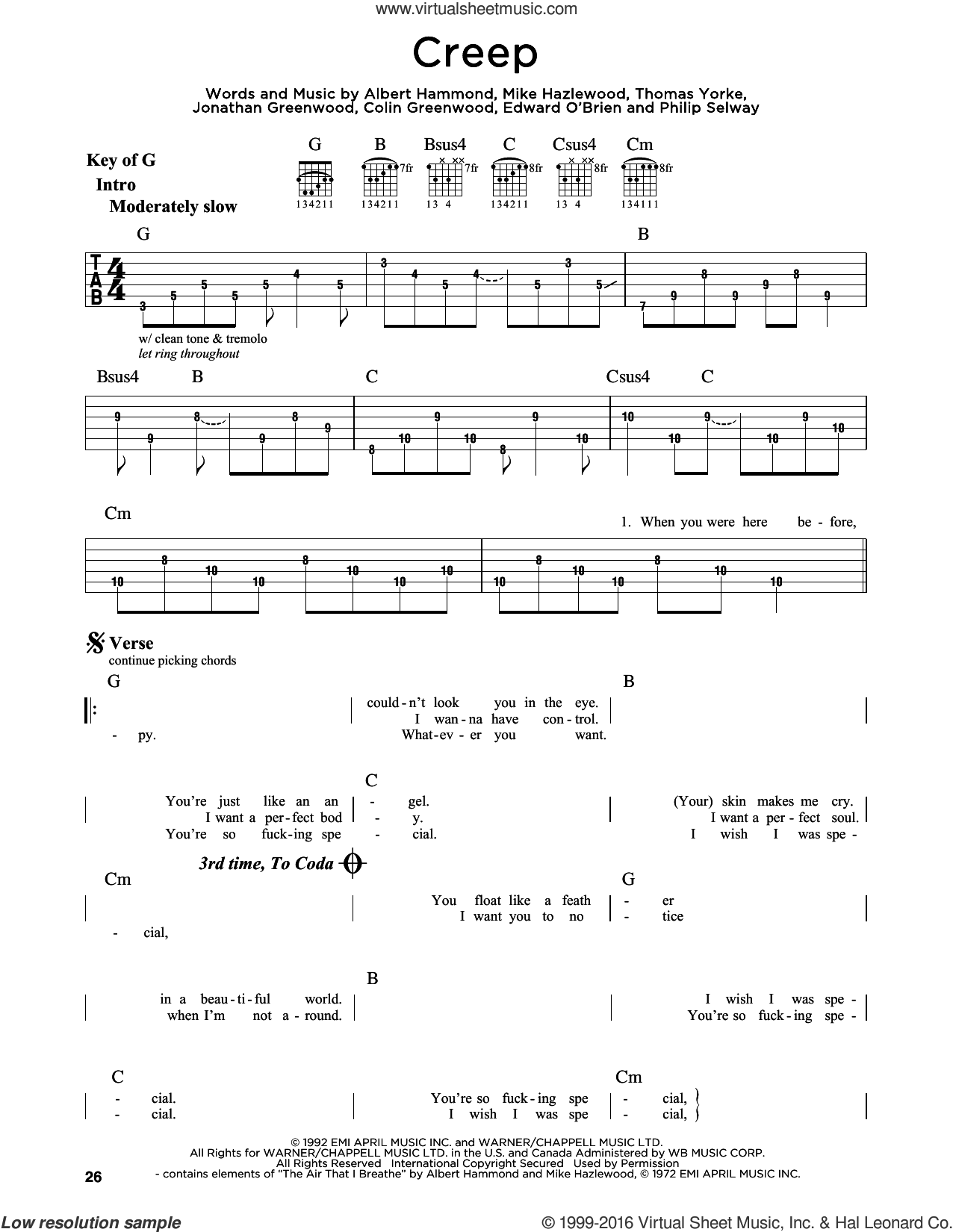 Creep sheet music for guitar solo (lead sheet) by Radiohead, Albert Hammond, Michael Hazlewood and Thom Yorke, intermediate guitar (lead sheet). Score Image Preview.