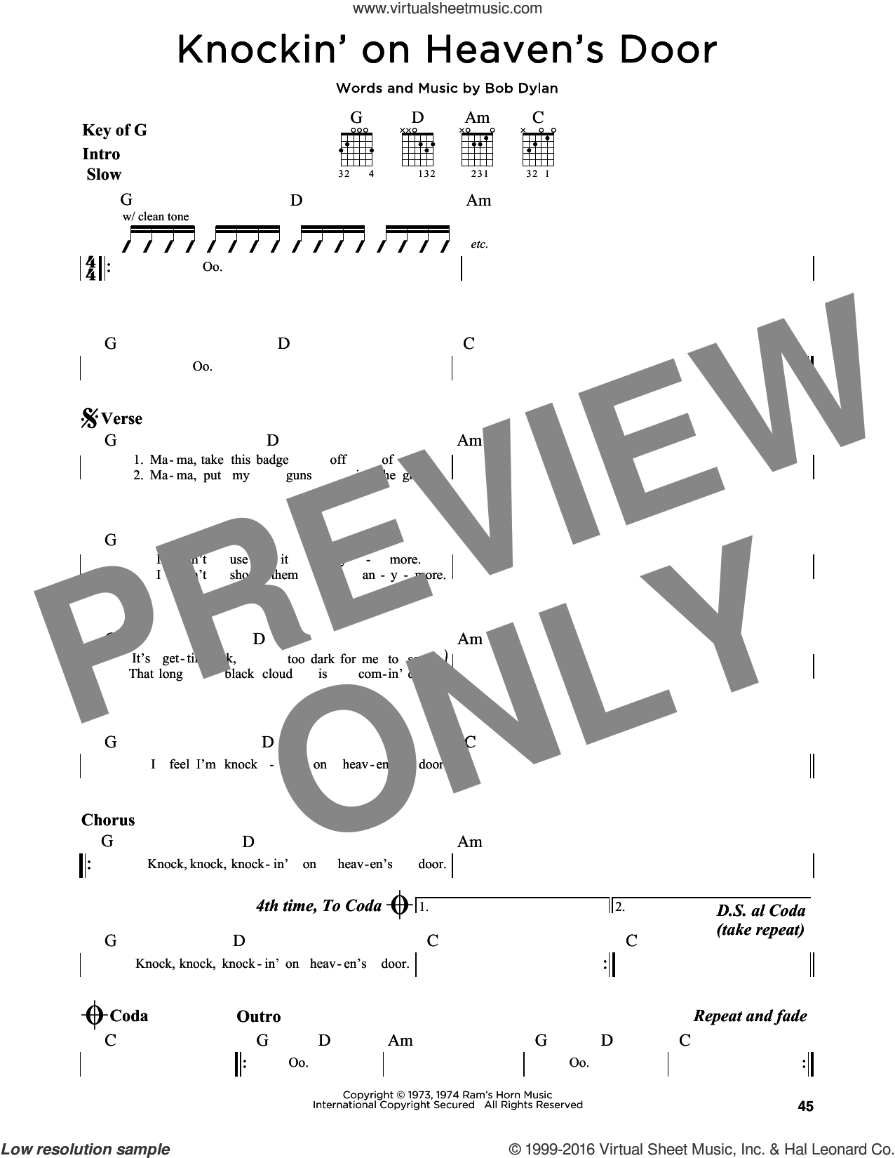 Knockin' On Heaven's Door sheet music for guitar solo (lead sheet) by Bob Dylan and Eric Clapton. Score Image Preview.