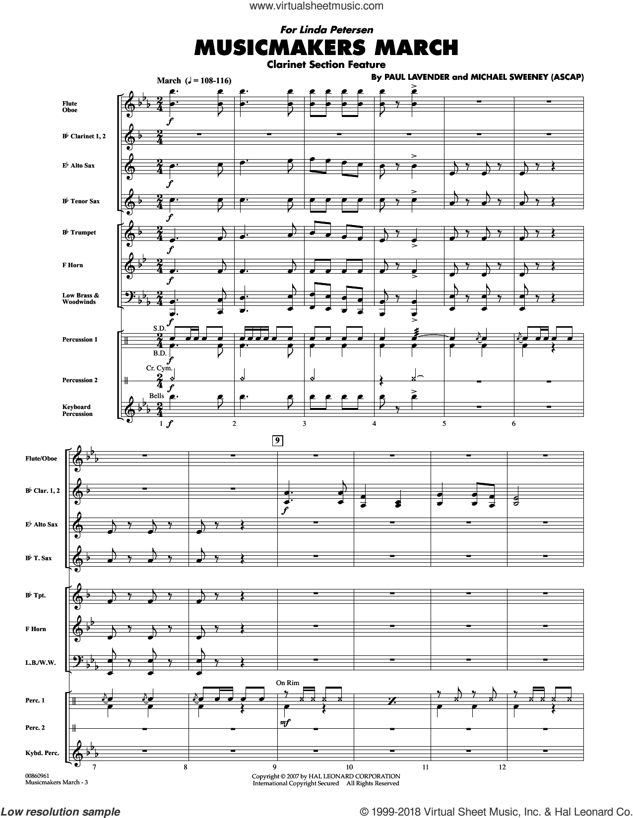 Musicmakers March (Clarinet Section Feature) sheet music for concert band (full score) by Paul Lavender and Michael Sweeney. Score Image Preview.