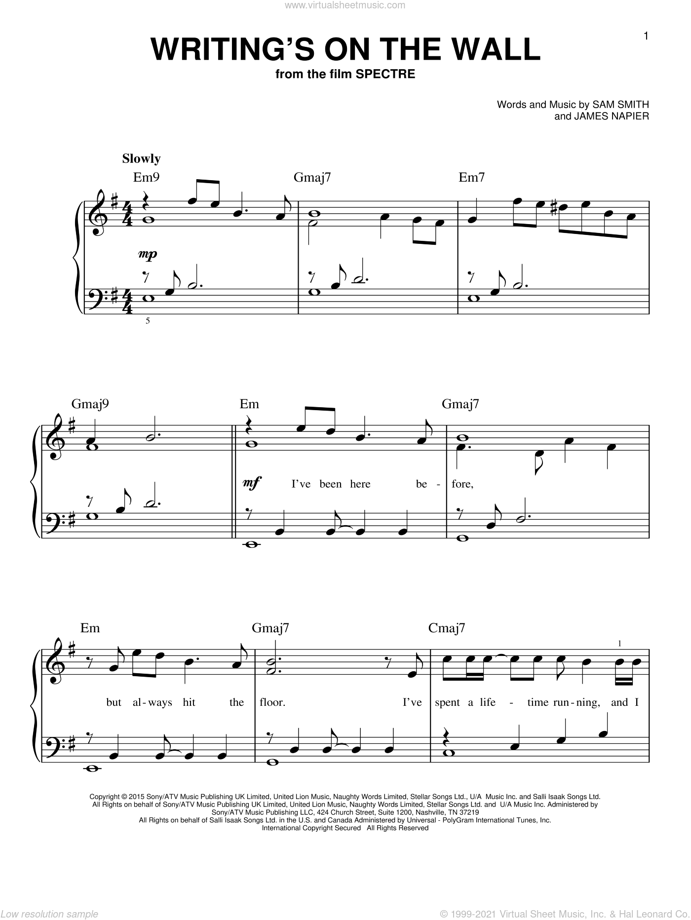 Writing's On The Wall sheet music for piano solo by Sam Smith, easy. Score Image Preview.