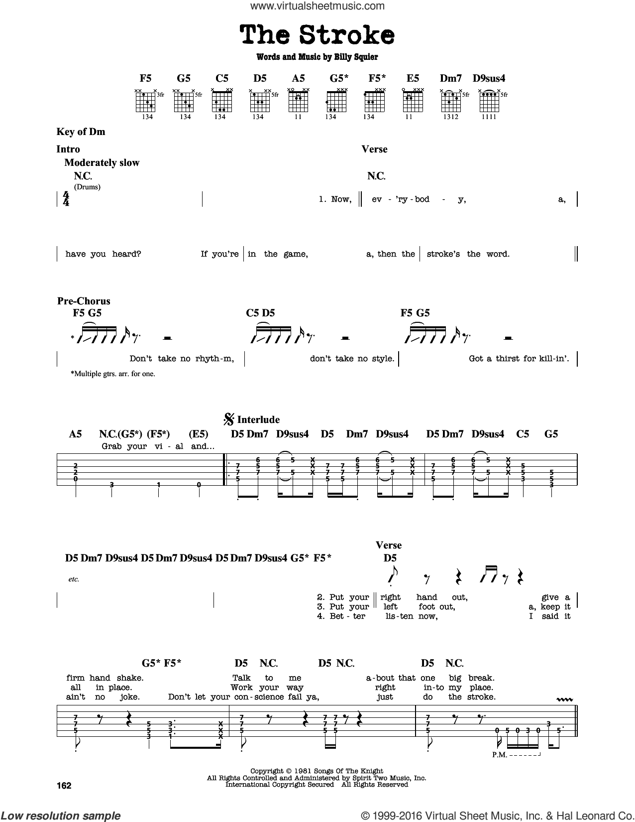 The Stroke sheet music for guitar solo (lead sheet) by Billy Squier. Score Image Preview.