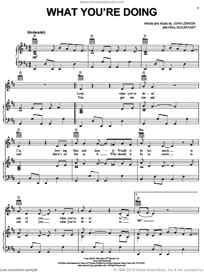 What You're Doing sheet music for voice, piano or guitar by The Beatles, John Lennon and Paul McCartney. Score Image Preview.