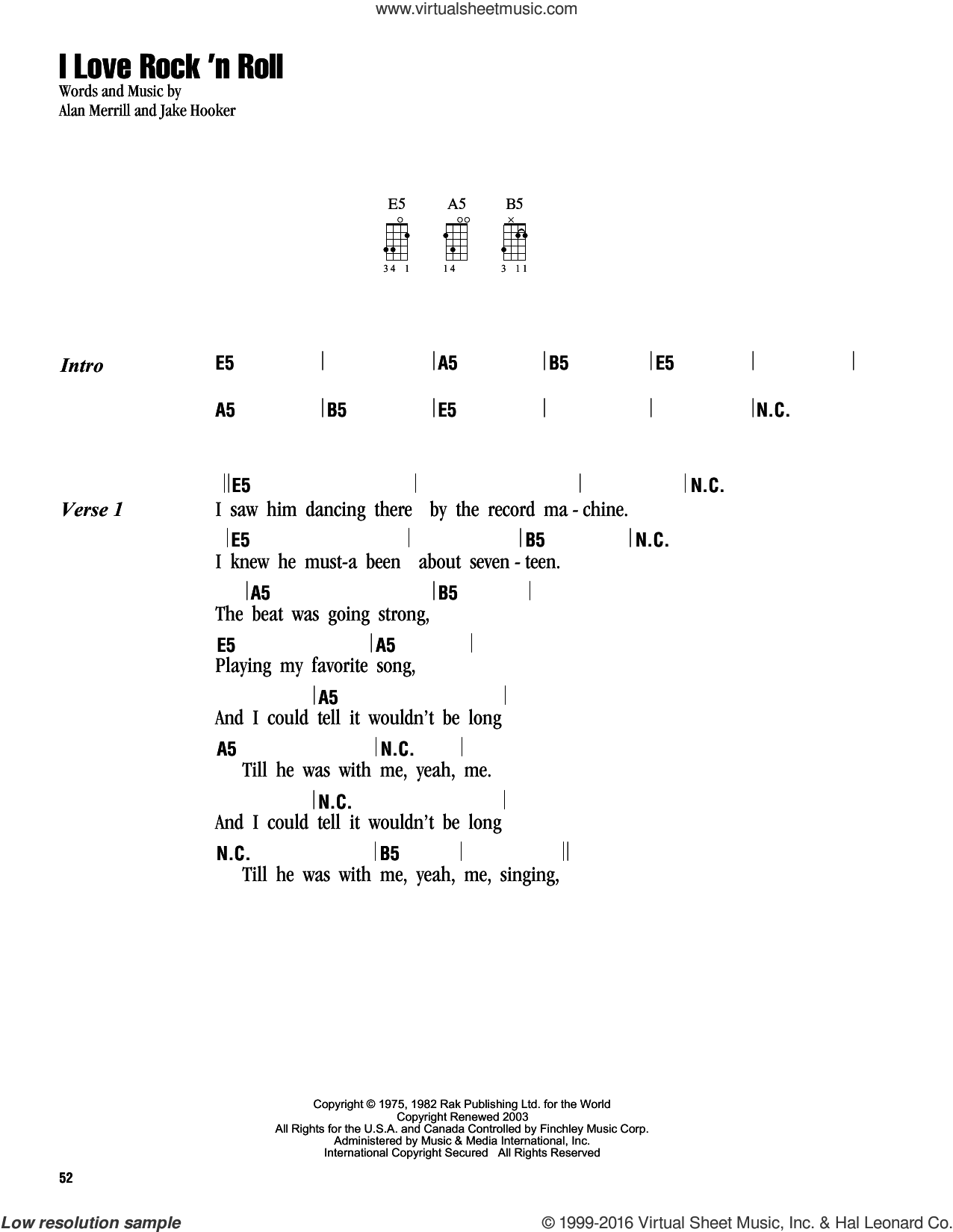I Love Rock 'N Roll sheet music for ukulele (chords) by Joan Jett & The Blackhearts, Alan Merrill and Jake Hooker, intermediate skill level