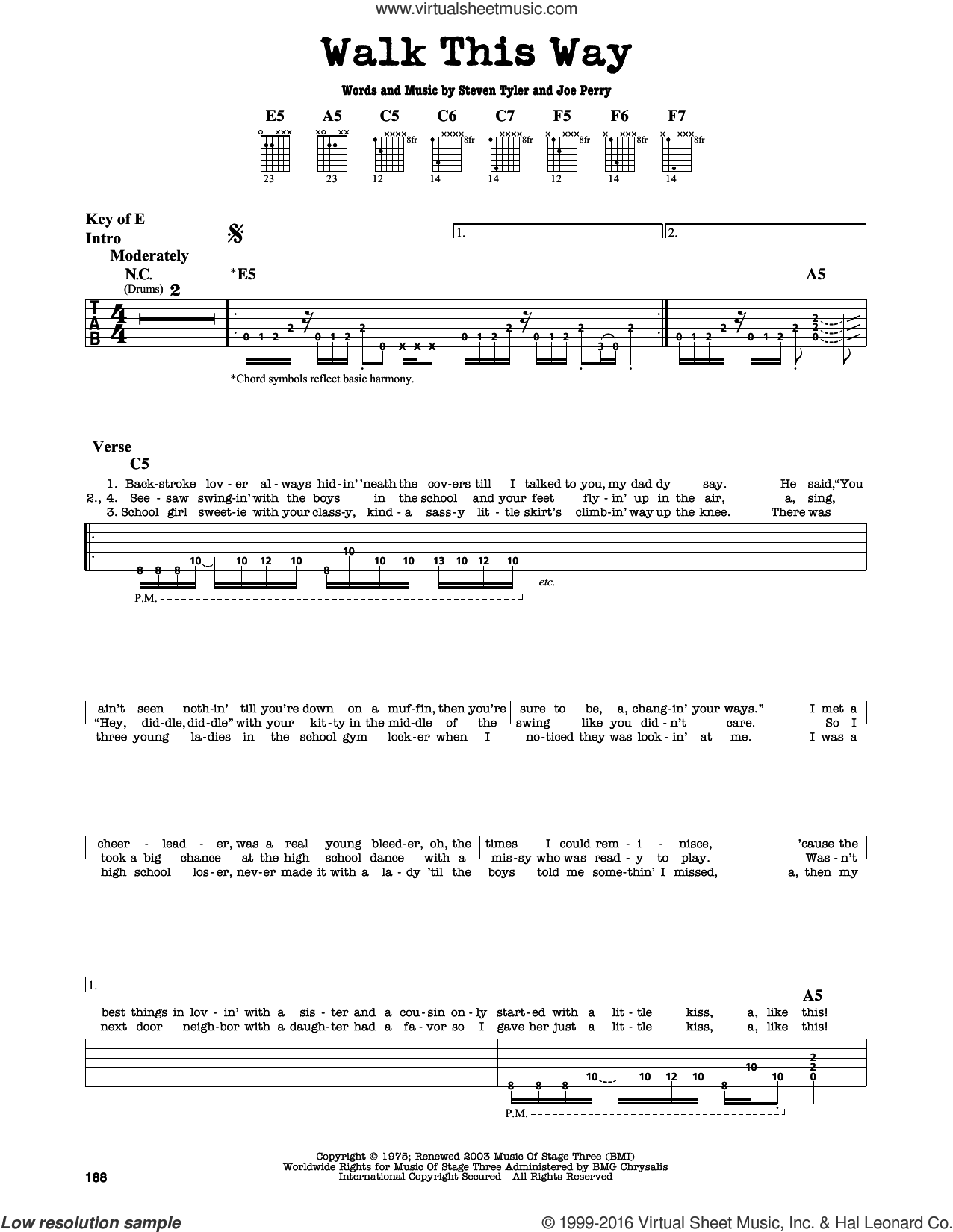 Walk This Way sheet music for guitar solo (lead sheet) by Aerosmith. Score Image Preview.