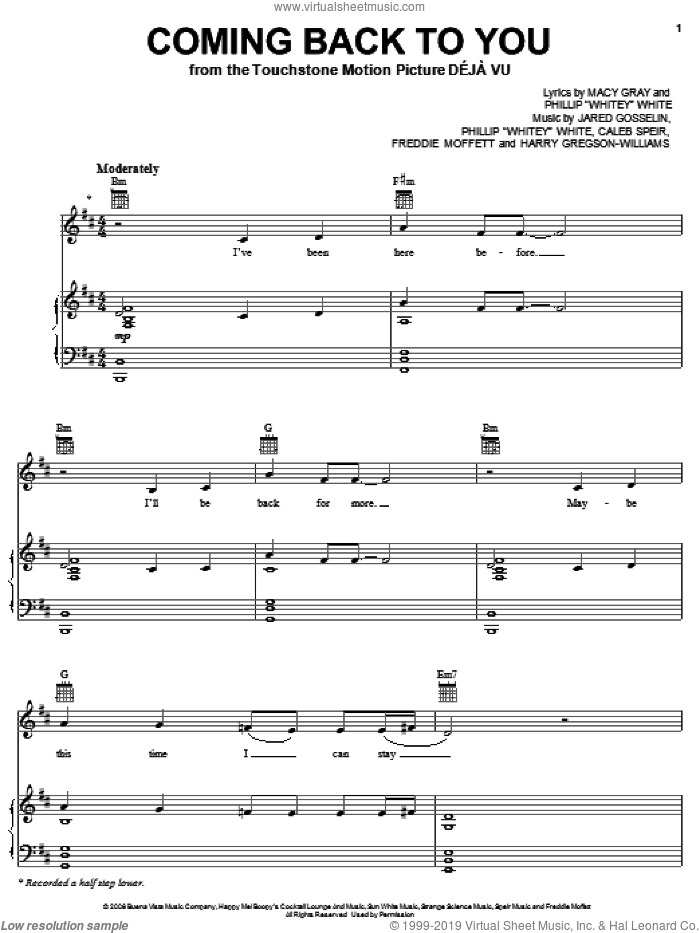 Coming Back To You sheet music for voice, piano or guitar by Phillip