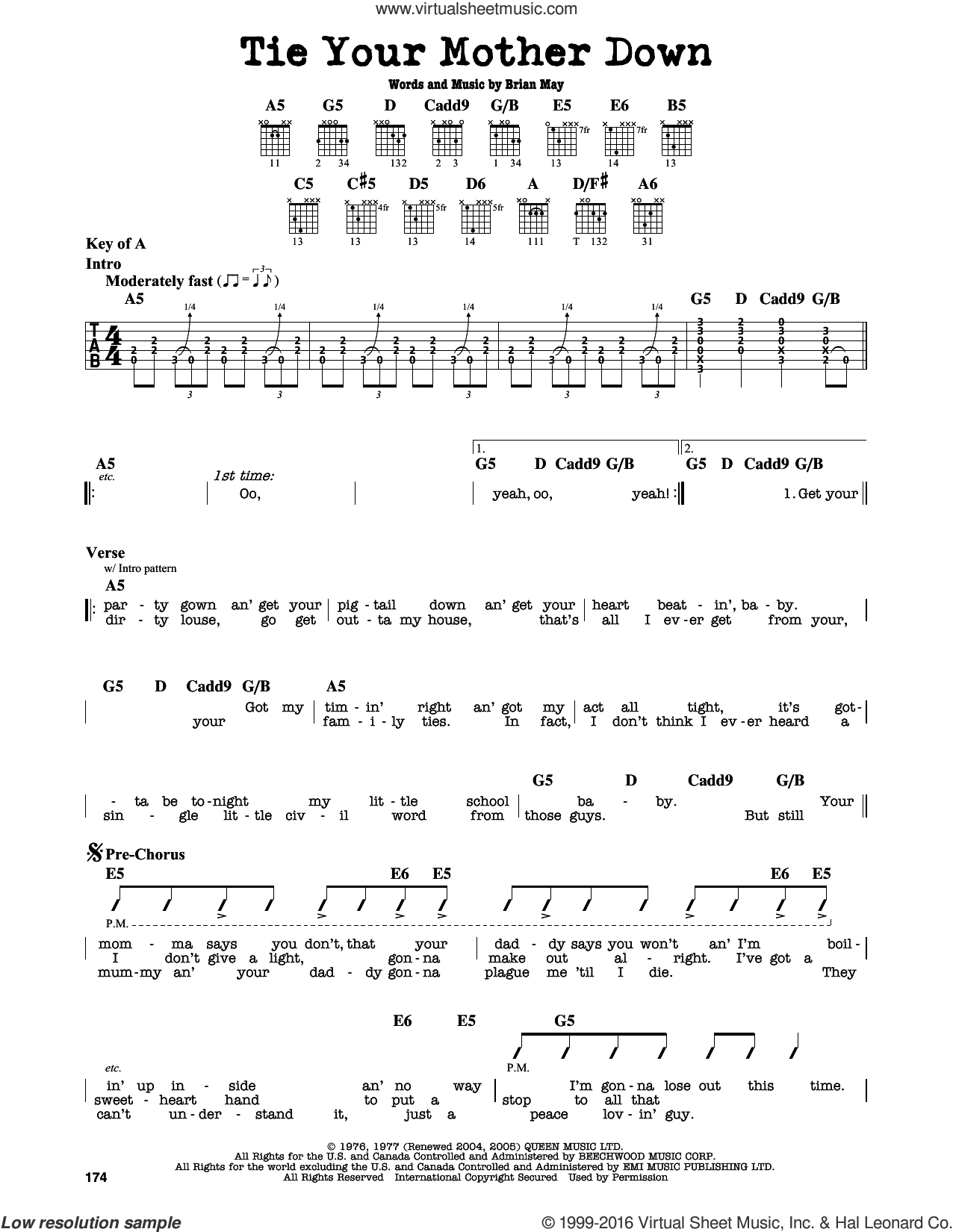 Tie Your Mother Down sheet music for guitar solo (lead sheet) by Brian May and Queen. Score Image Preview.