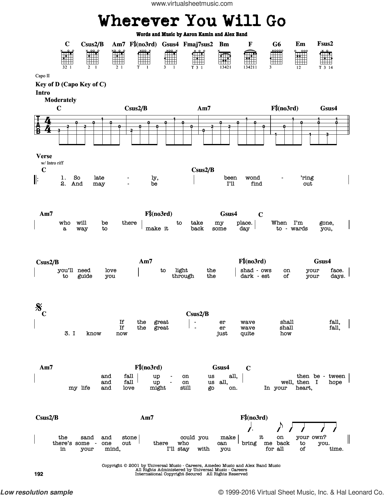 Wherever You Will Go sheet music for guitar solo (lead sheet) by The Calling, intermediate guitar (lead sheet). Score Image Preview.