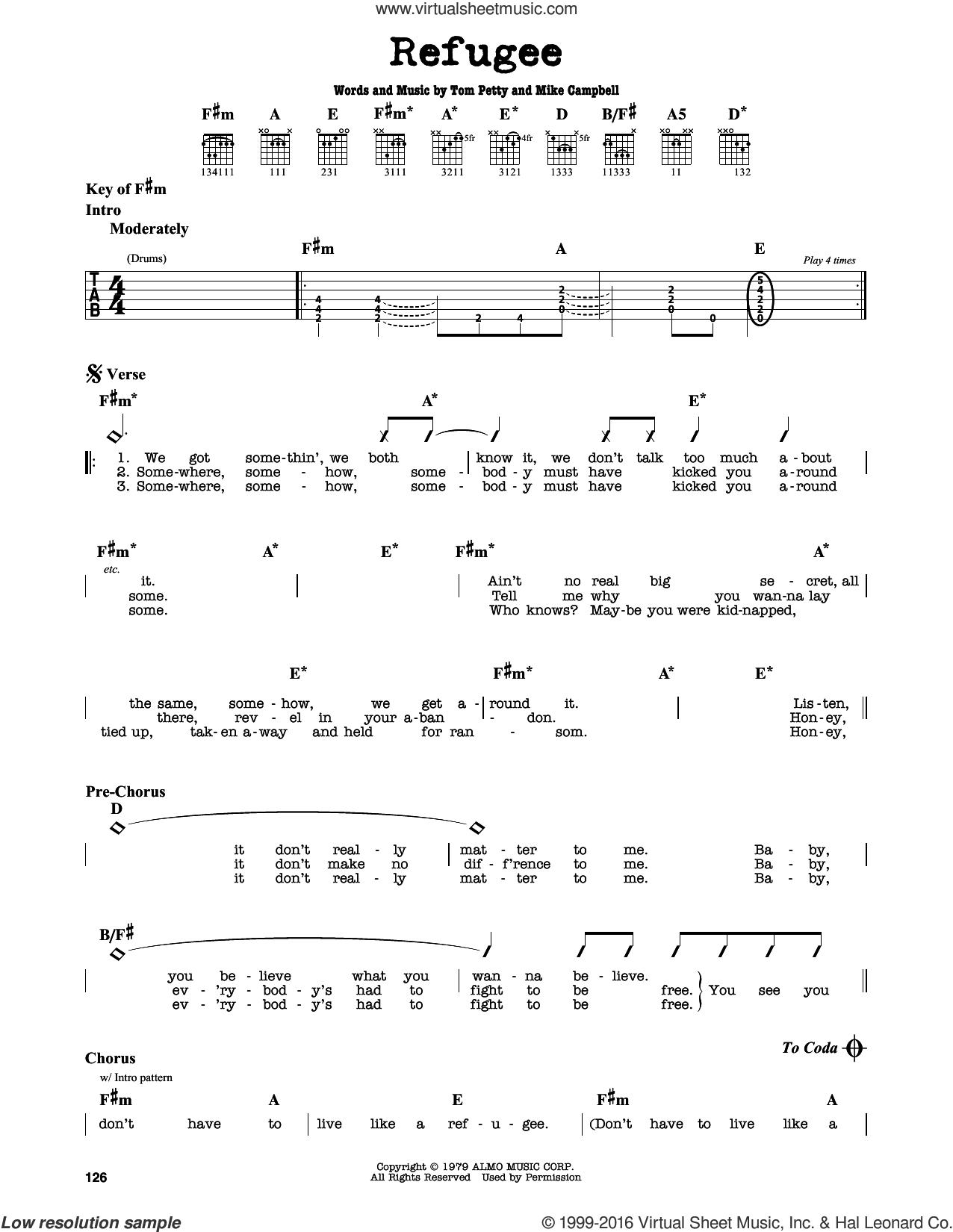 Refugee sheet music for guitar solo (lead sheet) by Mike Campbell and Tom Petty. Score Image Preview.