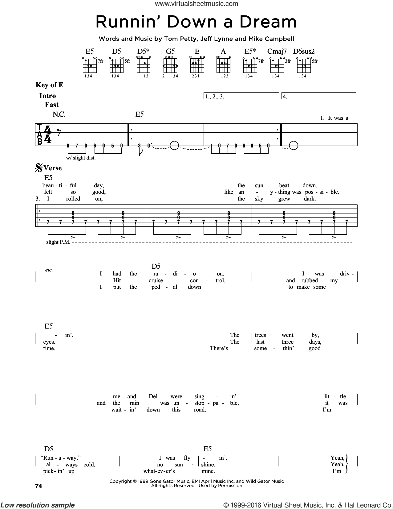 Runnin' Down A Dream sheet music for guitar solo (lead sheet) by Tom Petty, Jeff Lynne and Mike Campbell. Score Image Preview.