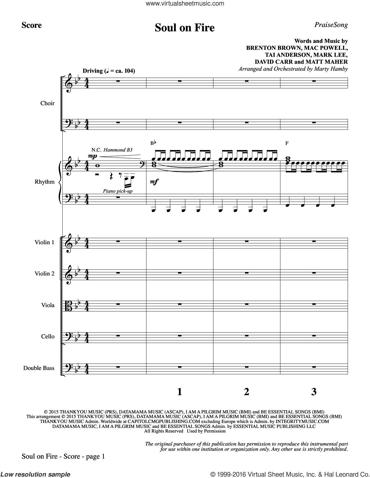Soul on Fire sheet music for orchestra/band (full score) by Tai Anderson, Marty Hamby, Third Day, Brenton Brown, David Carr, Mac Powell, Mark Lee and Matt Maher. Score Image Preview.