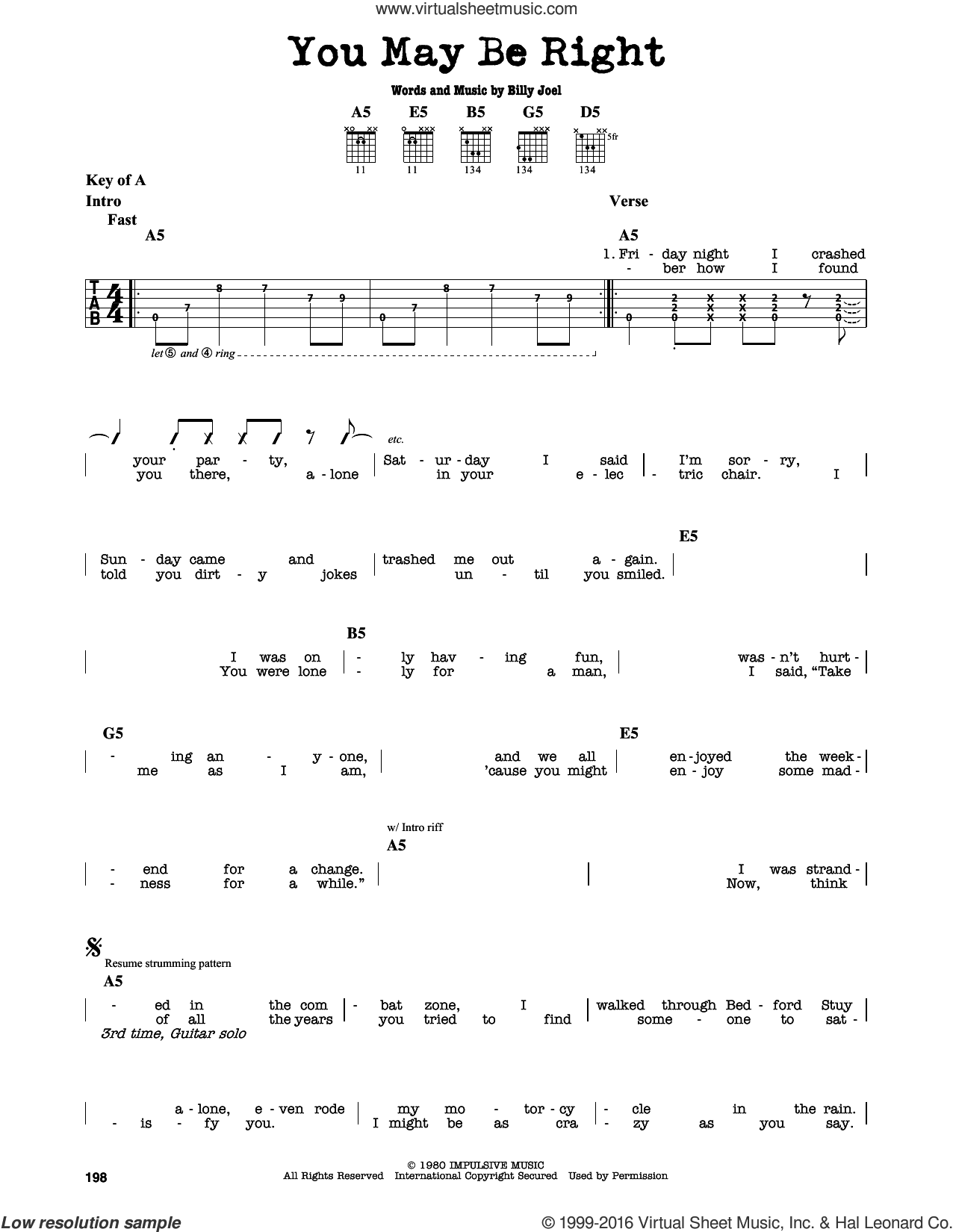 You May Be Right sheet music for guitar solo (lead sheet) by Billy Joel. Score Image Preview.