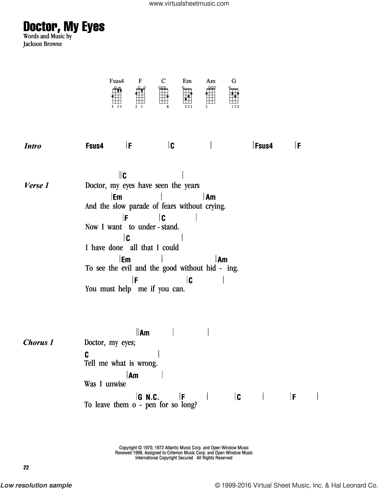 Doctor, My Eyes sheet music for ukulele (chords) by Jackson Browne. Score Image Preview.