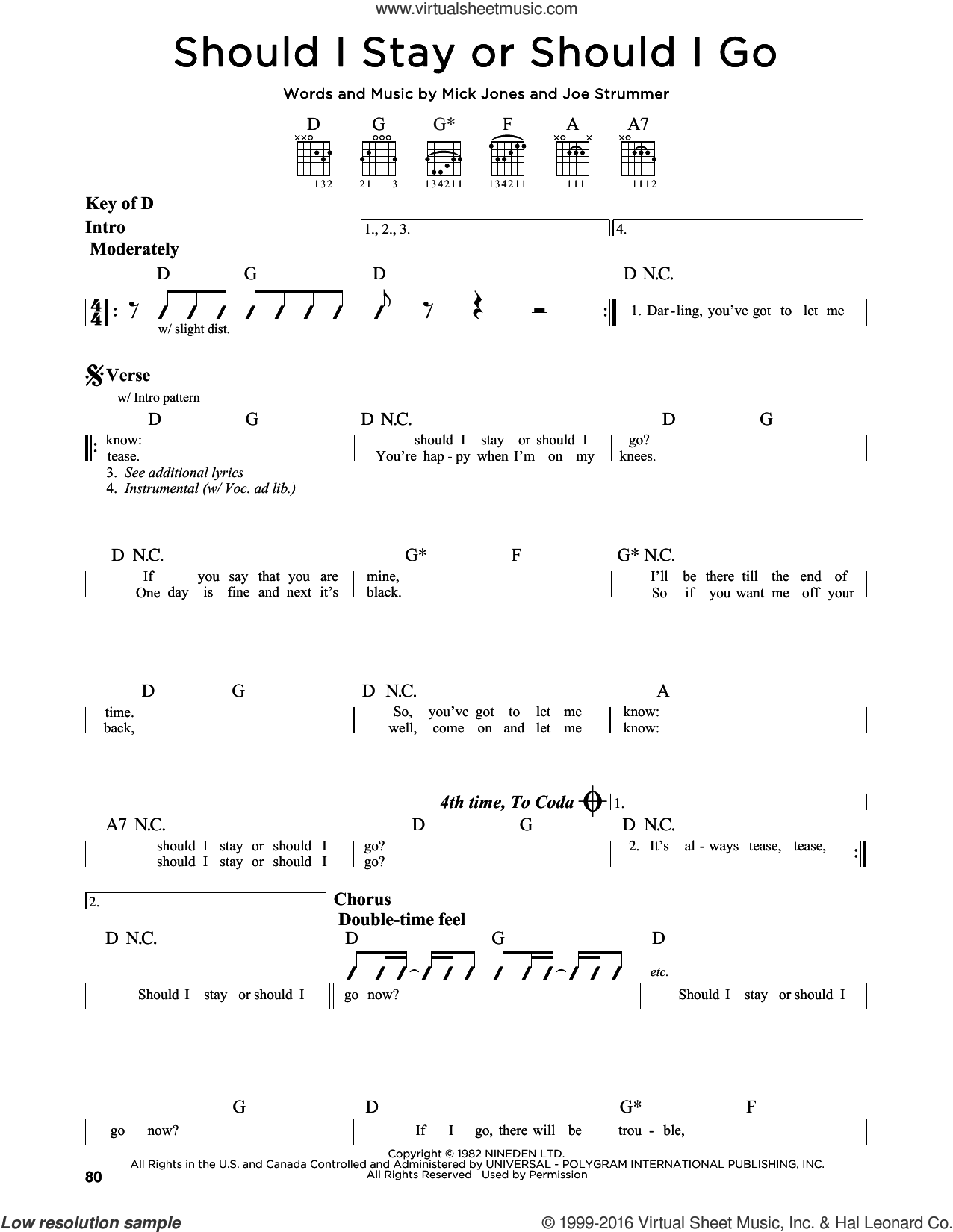 Should I Stay Or Should I Go sheet music for guitar solo (lead sheet) by The Clash, Joe Strummer and Mick Jones, intermediate guitar (lead sheet)