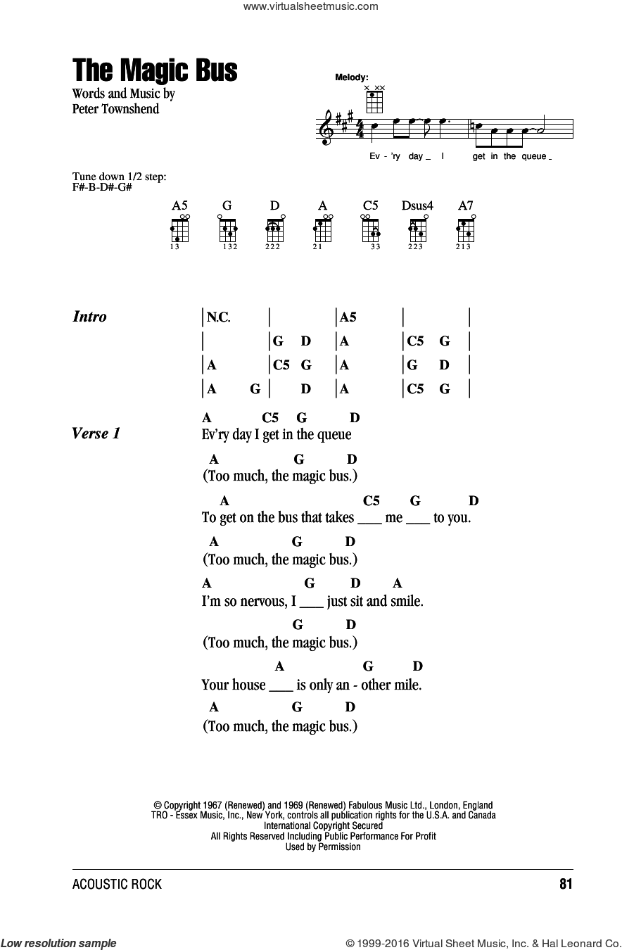 The Magic Bus sheet music for ukulele (chords) by Pete Townshend and The Who. Score Image Preview.