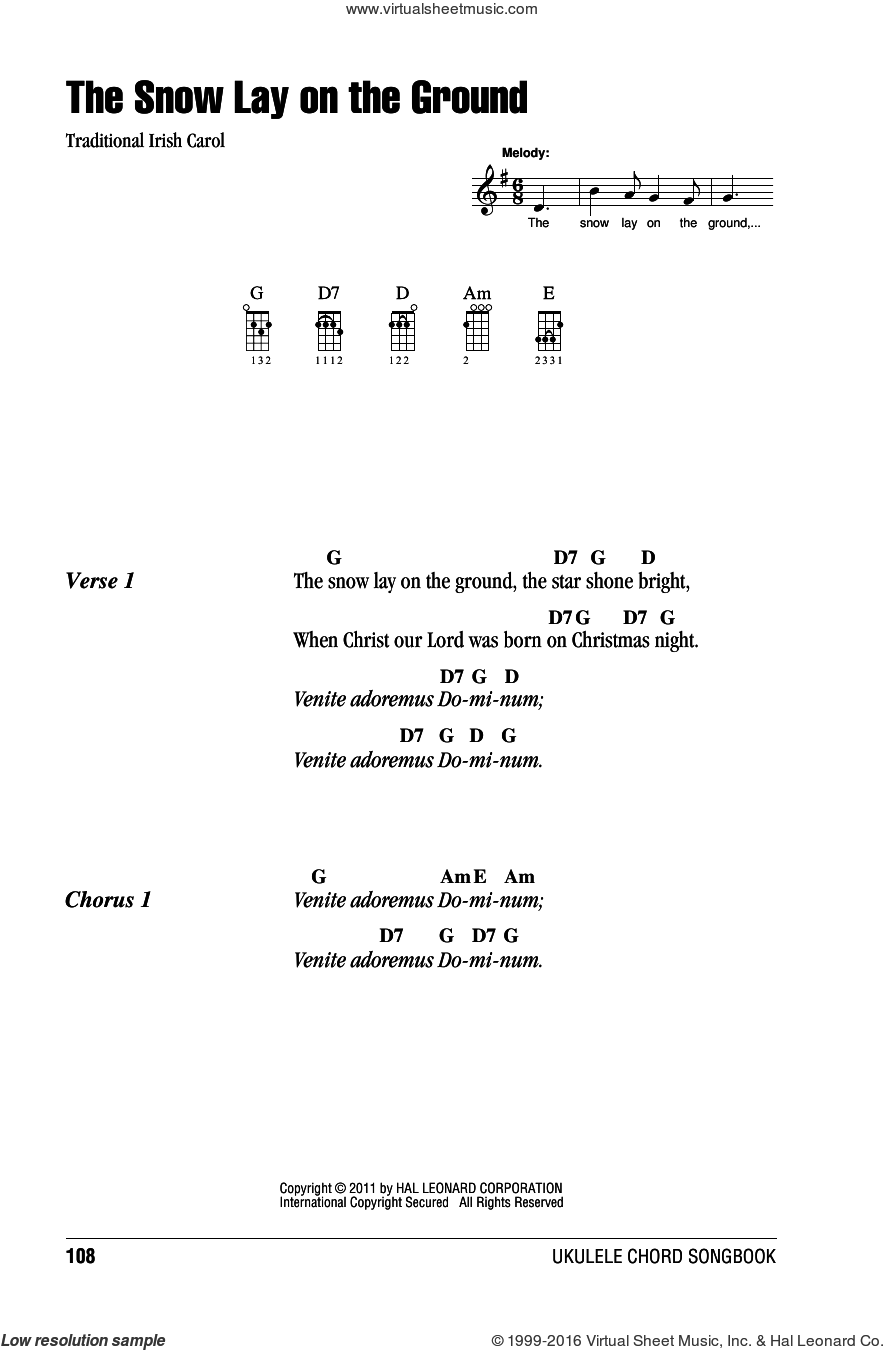 The Snow Lay On The Ground sheet music for ukulele (chords), intermediate skill level