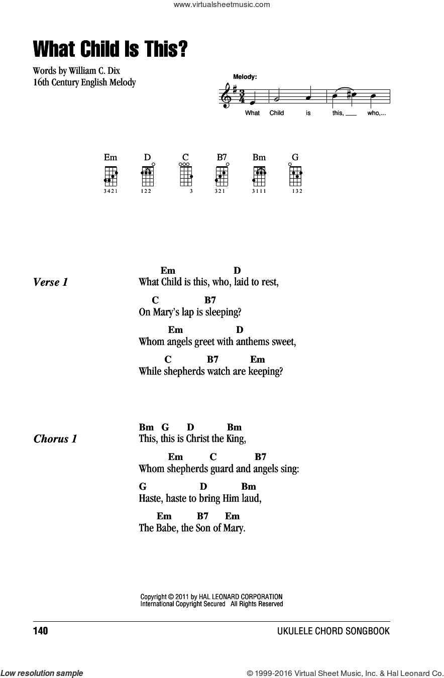 What Child Is This? sheet music for ukulele (chords) by William Chatterton Dix and Miscellaneous. Score Image Preview.
