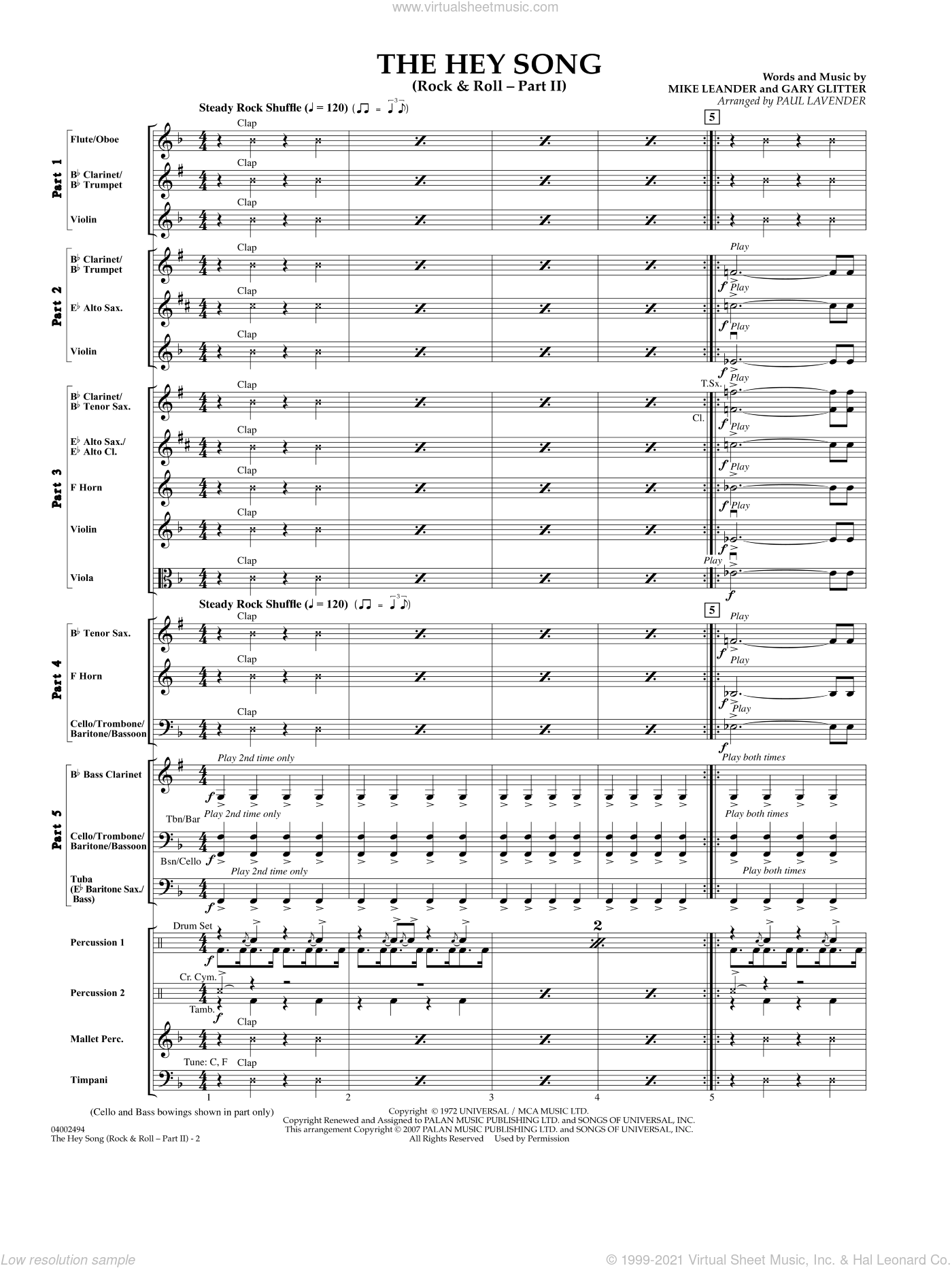 The Hey Song (Rock and Roll Part II) (Flex-Band) sheet music for concert band (full score) by Paul Lavender and Mike Leander. Score Image Preview.