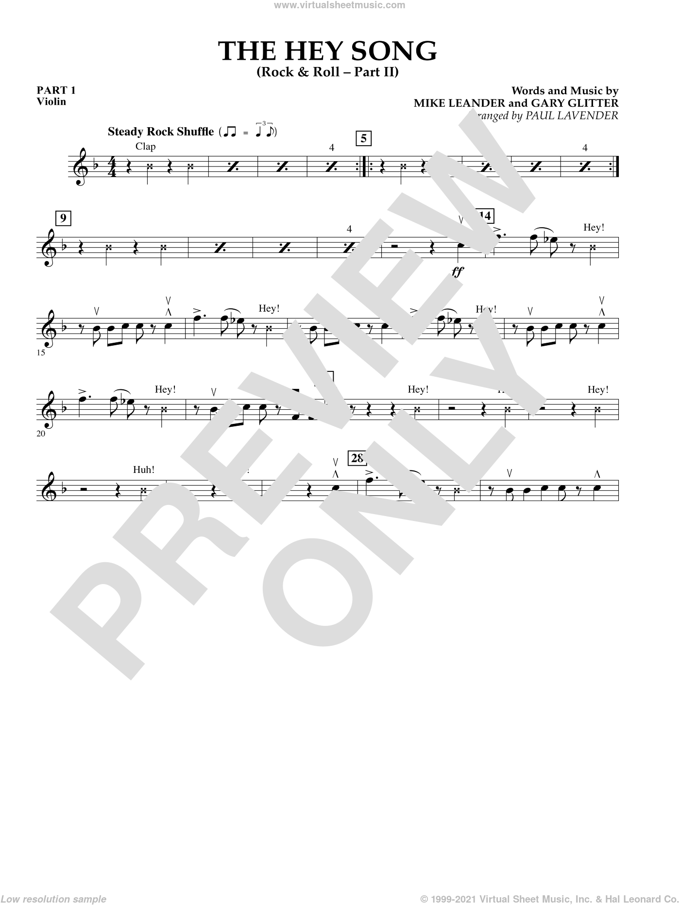 The Hey Song (Rock and Roll Part II) (Flex-Band) sheet music for concert band (pt.1 - violin) by Gary Glitter, Paul Lavender and Mike Leander, intermediate. Score Image Preview.